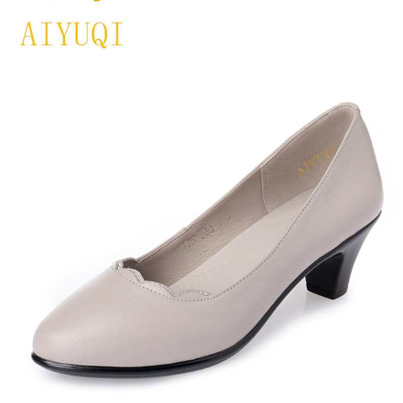 AIYUQI big size 41#42#43# women's comfortable shoes 2018 new spring leather shoes dress professional work mother shoes women women work dress longsleeve spring new european station grid pencil skirt fake two professional dress l13