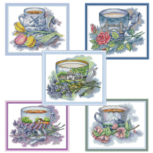 Joy Sunday, teacup, cross stitch embroidery set, printing cloth kit, needlework, fashion pattern kit
