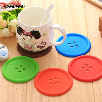 Creative Buttons Coaster Pvc Placemat  Heat Insulation Silicone  1