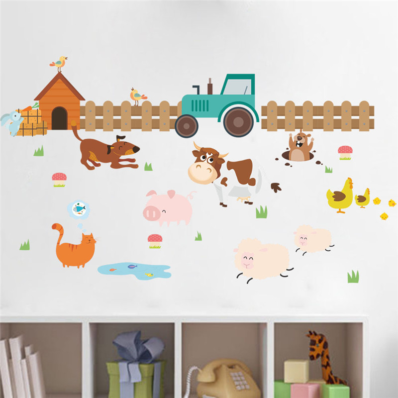 Cartoon Farm Animals Wall Stickers Kids Room Decoration Dog Cow Chick Mural Art Diy Home Decals Posters Children Gift