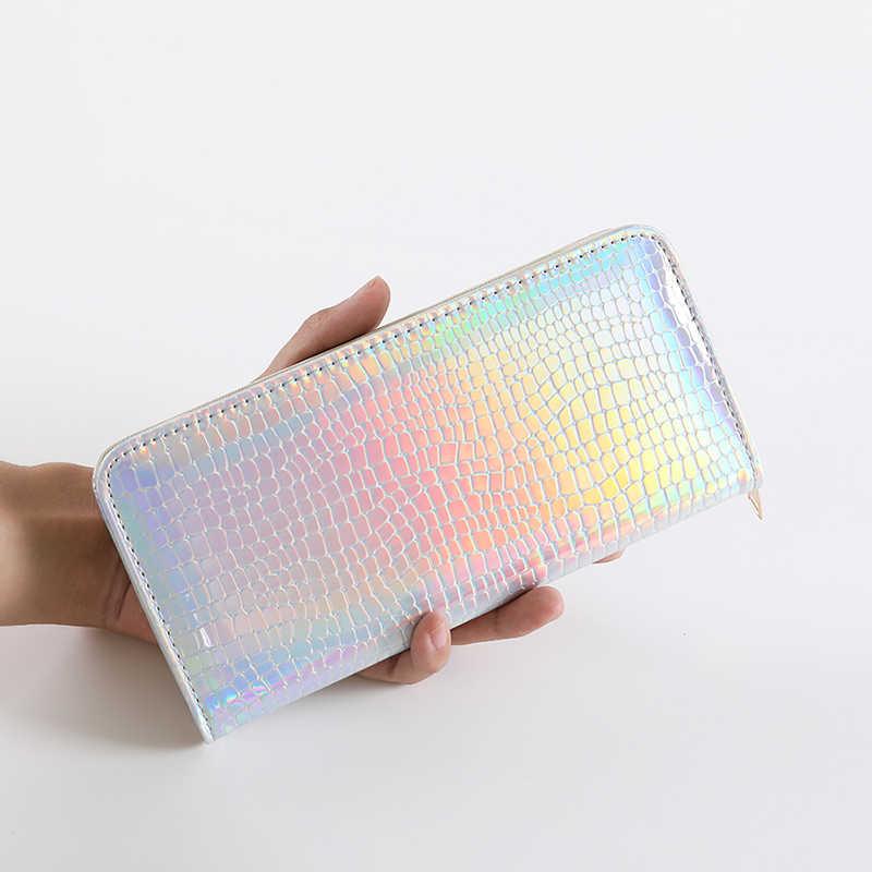 af7621c10597 Для женщин лазерной блестящей большие кожаные бумажники женский клатч  голограмма молнии кошельки карман кошелек держатель для