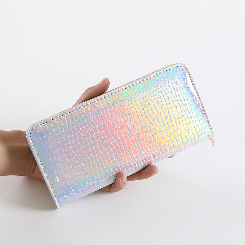 Laser Shiny Women Clutch Wallets Leather Hologram Clutches Zipper Coin Purses Pocket Ladies Purse Long Card Holder Wallet Bag