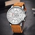 Benyar nueva moda cronógrafo del deporte del cuero genuino para hombre relojes de primeras marcas de lujo reloj de cuarzo militar reloj relogio masculino
