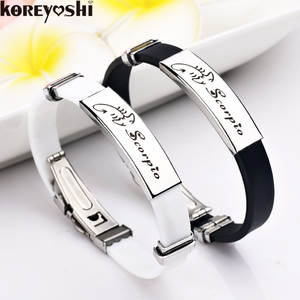 Bracelets Men Jewelry Bangles Rubber Stainless-Steel 12-Constellations Personality Women