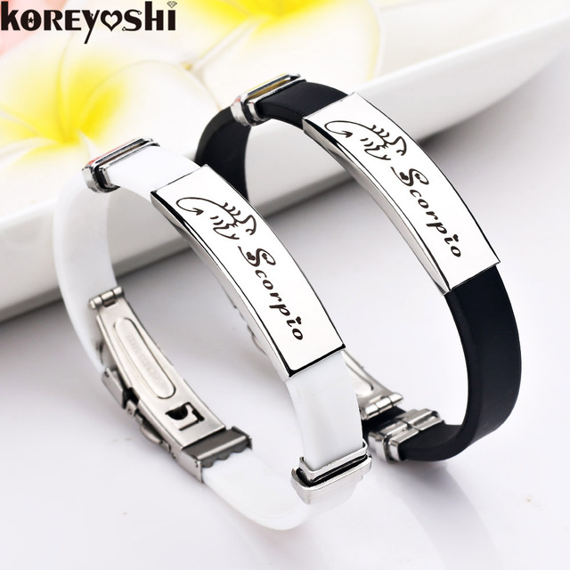 12 Constellations stainless steel Bracelets Men rubber Charm Casual Personality