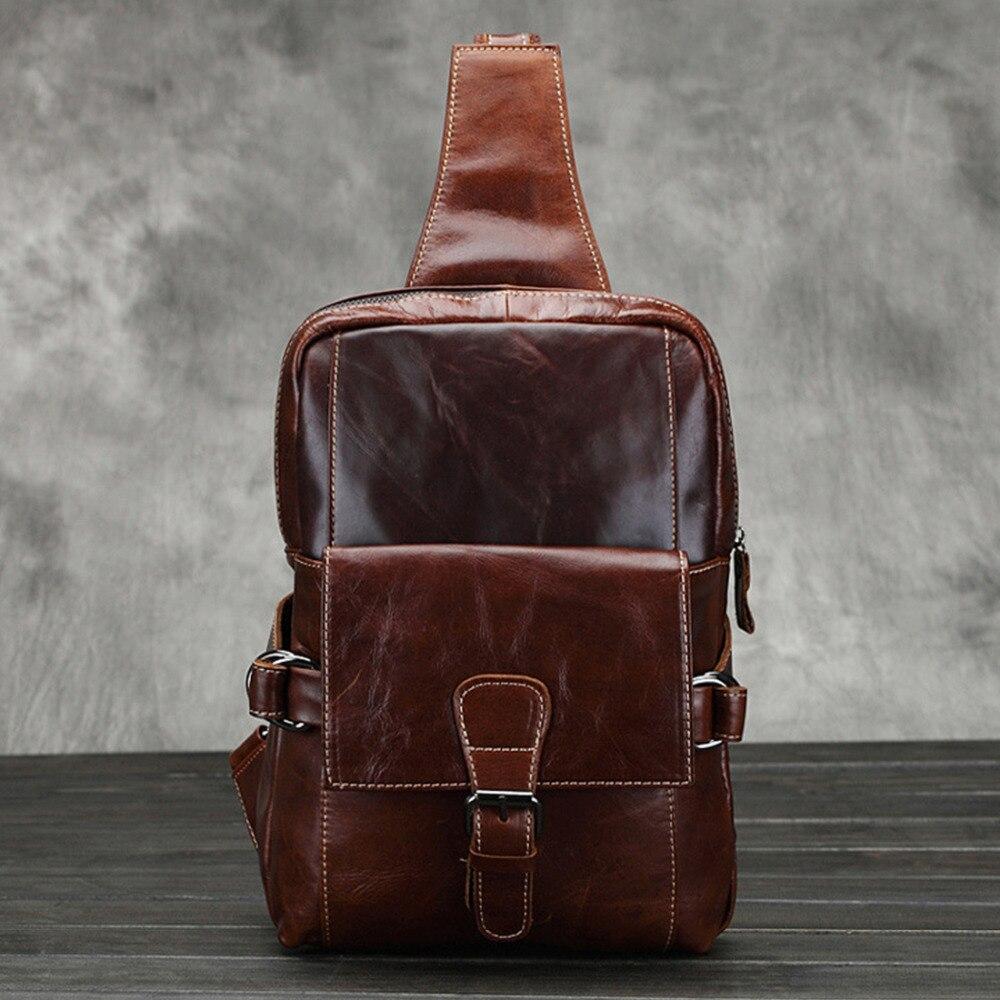 Genuine Leather Bag Men Chest Pack Vintage Men Casual Shoulder Bag Travel High Quality Real Cowhide Single Rucksack Backpack