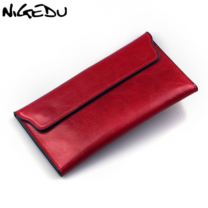 NIGEDU Brand Genuine Leather Women Wallet Long thin Purse Cowhide multiple Cards Holder Clutch bag Fashion Standard Wallet famous brand 2017 genuine leather women wallet long purse vintage solid cowhide multiple cards holder clutch carteira feminina