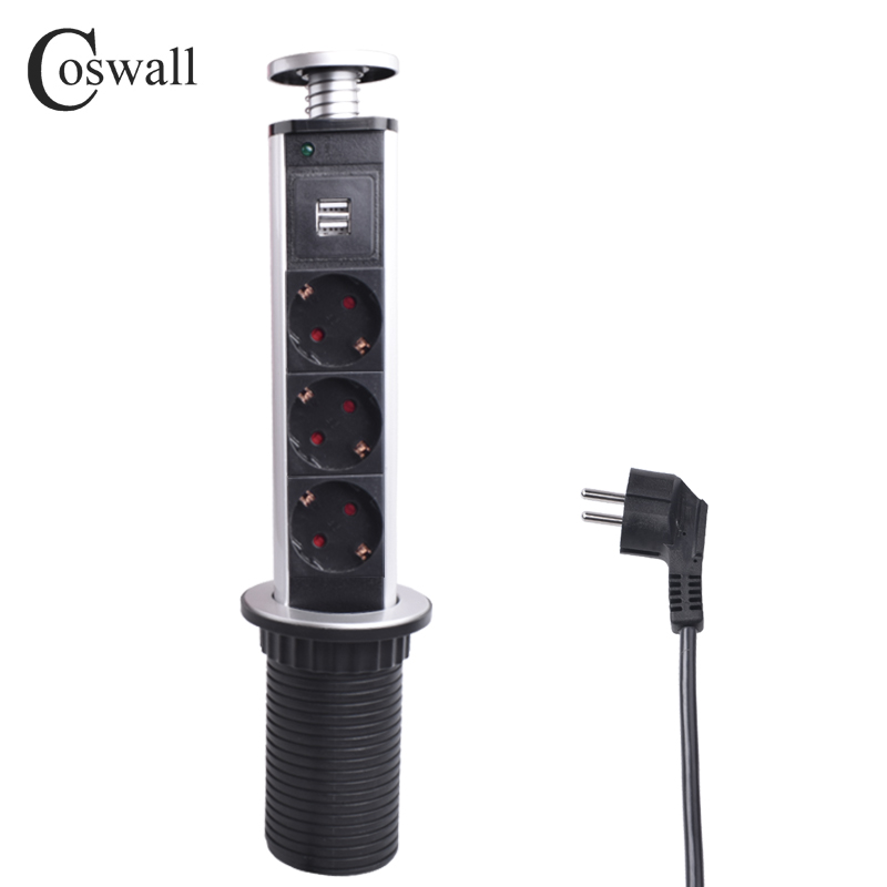 COSWALL 16A PULL POP UP 3 Puissance Socket 2 USB Port de Charge Table De Cuisine De Bureau Sockets Rétractable Comptoirs Plan de Travail de L'UE plug
