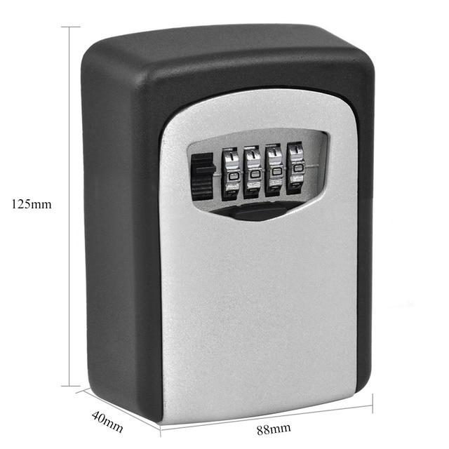 Outdoor Key Safe Box Key Storage Organizer with 4 Digit Combination Password Lock Wall Mounted Waterproof