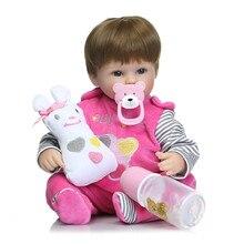 2016 Новый 16 Дюйм(ов) Силиконовые Куклы Reborn Детские Kawaii Дети игрушки Девочек boneca Голубые Глаза Каштановые Волосы Парик Подарочные Куклы brinquedos