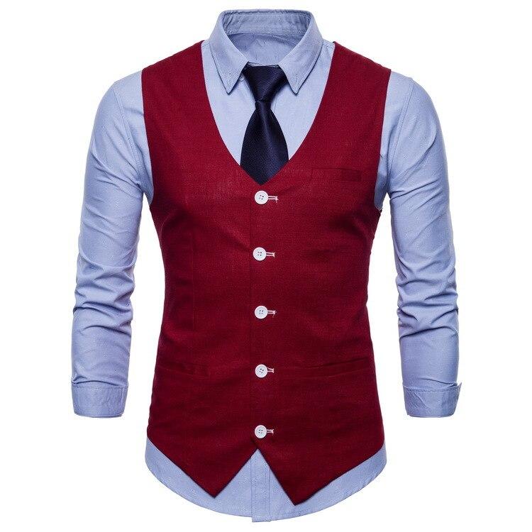Fashion Office Wear Male Vest Autumn Slim V-neck Sleeveless Formal Blazer Waistcoat Large Size 4xl Casual Wine Red Men Suit Vest