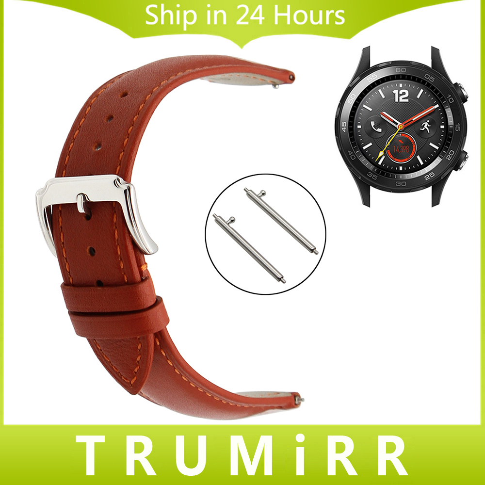 Quick Release Band for Huawei Watch 2 Pebble Time Round 20mm Bradley Timepiece 1st Layer Genuine Leather Strap Wrist Bracelet elastic watch band 20mm 22mm for pebble 1 1st gen pebble time round 20mm pebble time stainless steel strap link belt bracelet