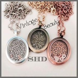 Image 5 - Vinnie Design Jewelry Oval Locket Magnetic Glass Stainless Steel Floating Charms Lockets 5pcs/lot Wholesale