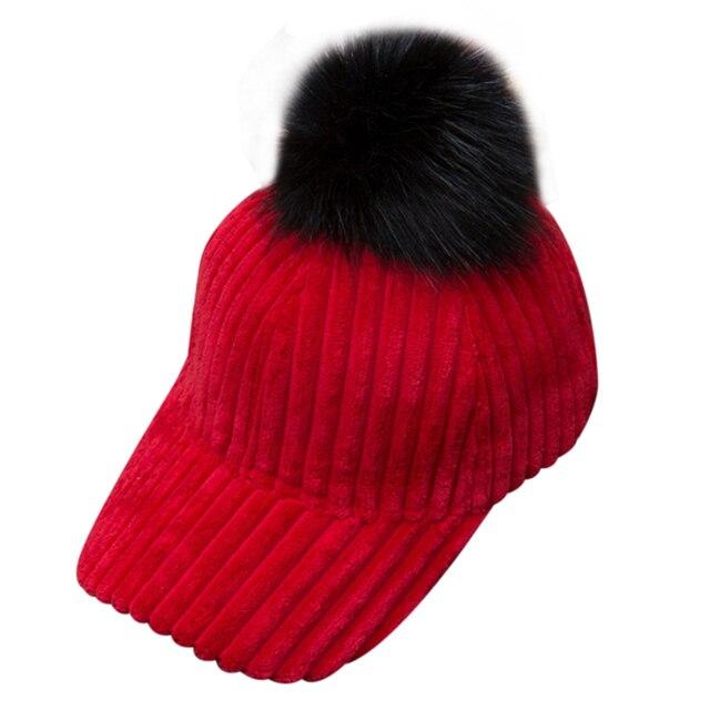 253a13d49e624 Unisex Hip-Hop Hat Winter Warm Women Fur Pom Ball Adjustable Baseball Cap  Autumn and winter new products fashion