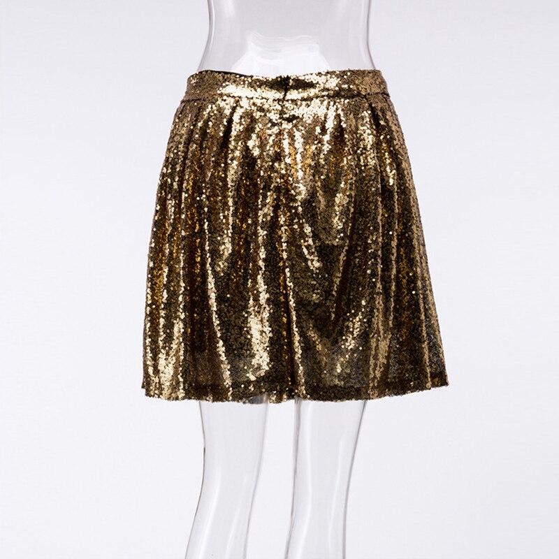 8f2197404 Falda plisada de lentejuelas doradas mujeres 2018 nuevo estilo de verano  Mini falda de cintura alta Mujer Casual elegante Mini faldas