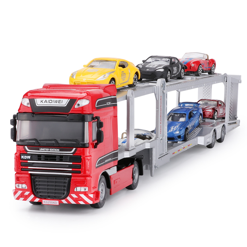 Alloy Diecast Double Deck Car Transporter Flat Bed Trailer Truck 1:50 Platform Vehicle Model Toys Hobby For Kids Christmas Gift