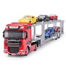 Liga diecast double deck carro transportador de reboque de cama plana caminhão 1:50 plataforma veículo modelo brinquedos hobby para crianças presente de natal