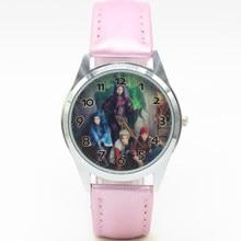 Наручные кварцевые модные детские часы черного цвета с кожаным ремешком для девочек на Рождество