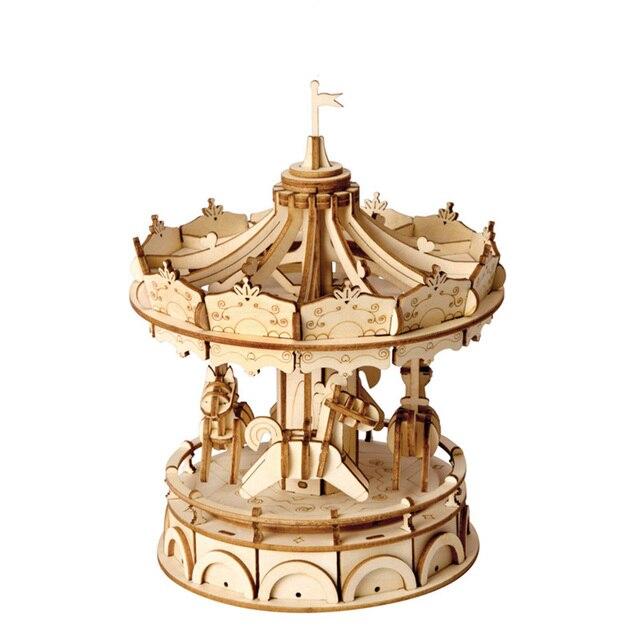 NFSTRIKE Model Building Kits 3D Movement Assembled Wooden Painting Jointed Model Steam Stem Toys  for Kids Children  - Carousel