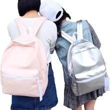 New Arrival Hologram Laser Backpack Girl School Bag Women Pink And White Simple Metallic Silver Laser