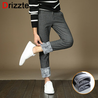 Drizzte Mens Stretch Pants With Warm Fleece Dress Pants Flannel Lined Black Blue Grey Trousers Casual