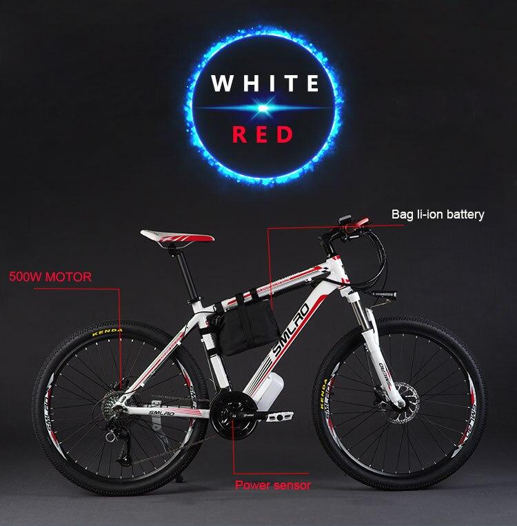 HTB1rgXYFh9YBuNjy0Ffq6xIsVXai - 26inch electrical mountain bicycle aluminum alloy ebike 27velocity e-mtb 48V lithium battery 500W motor  Hybrid bicycle
