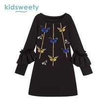 Фотография Kidsweety Kids Dresses Girl 2017 Brand Children Dress Butterfly Children Girl Clothing Winter Dresses Black For 7 8 9Y Girls