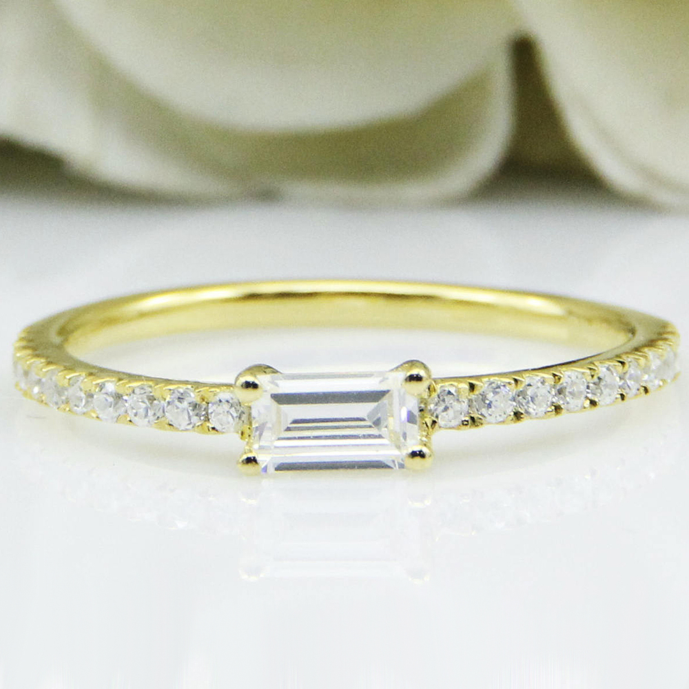 0 4CT 5X3mm Emerald Cut Moissanite Ring 14K Solid Yellow Gold Moissanite Accents Side Stone Engagement