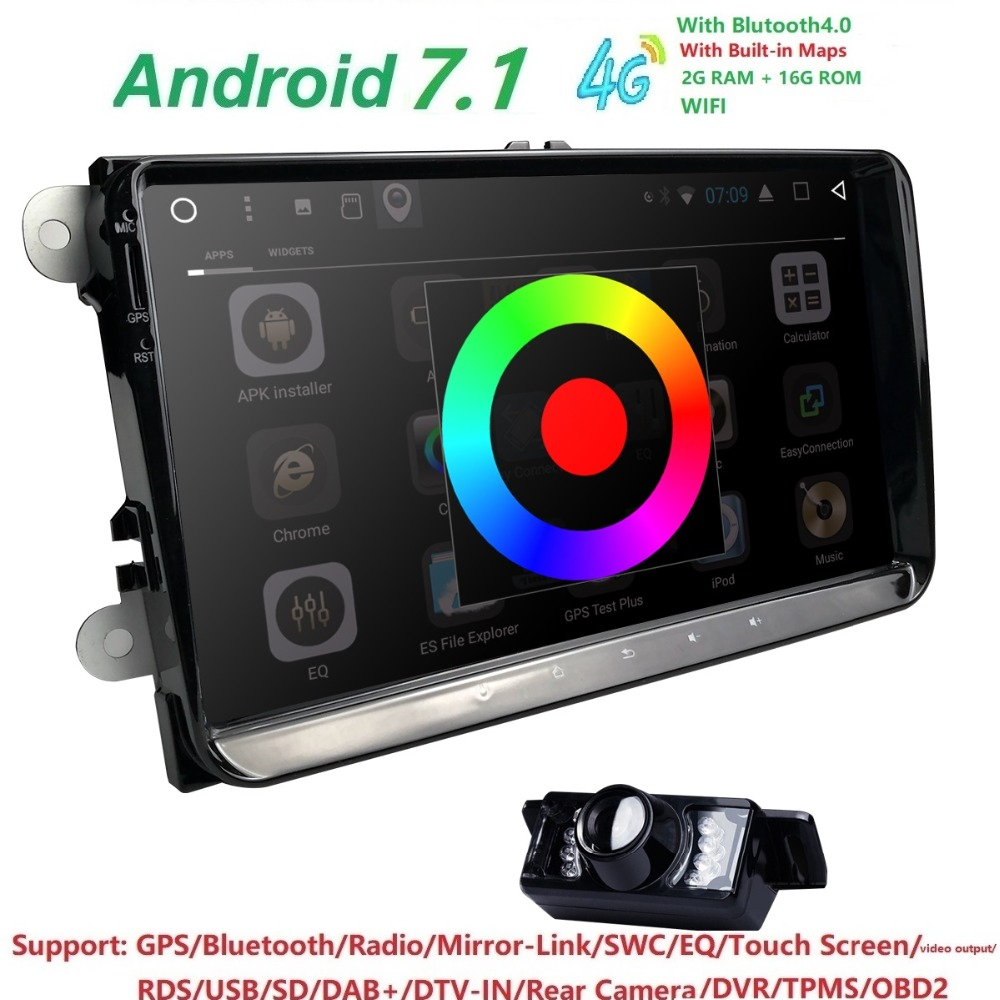 Hizpo 1 DIN 9 INCH Car No DVD Player Navigation For VOLKSWAGEN SKODA OCTAVIA FABIA LIMOUSINE Radio GPS RDS Mirror-Link WIFI TPMS 2 din 7 car dvd player for skoda octavia fabia fast yeti superb vw seat stereo wifi 3g gps navigation radio mirror link ipod