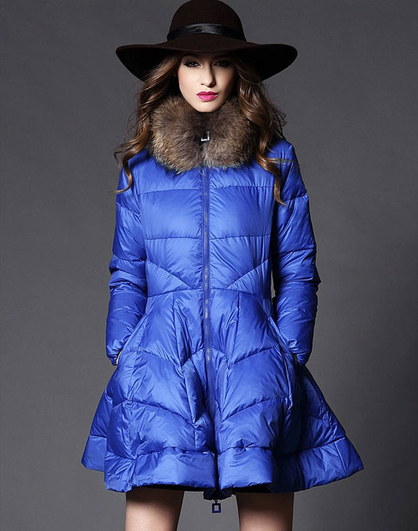 New Arrival 2014 Winter Raccoon Fur Collar Ball Gown White Duck Down Women A-Line Long Slim Down Skirt Solid Zipper Coats E884 100% white duck down women coat fashion solid hooded fox fur detachable collar winter coats elegant long down coats