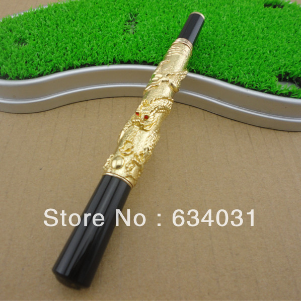 JINHAO 41 GOLDEN WITH DRAGON EMBOSSMENT ROLLER BALL PEN CRYSTAL jinhao ancient dragon playing pearl roller ball pen with jewelry on top with original box free shipping