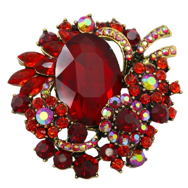 Gaya Vintage Kristal Rhinestones dan Besar Acrylic Batu Merah Bros Pins untuk Wanita
