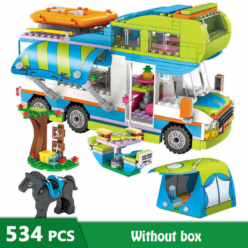 534pcs Girl Building Blocks City Outing Camper Bus Car Model Stacking Bricks Girls Friends Playmobil Figures Kids Toys Gift GB07