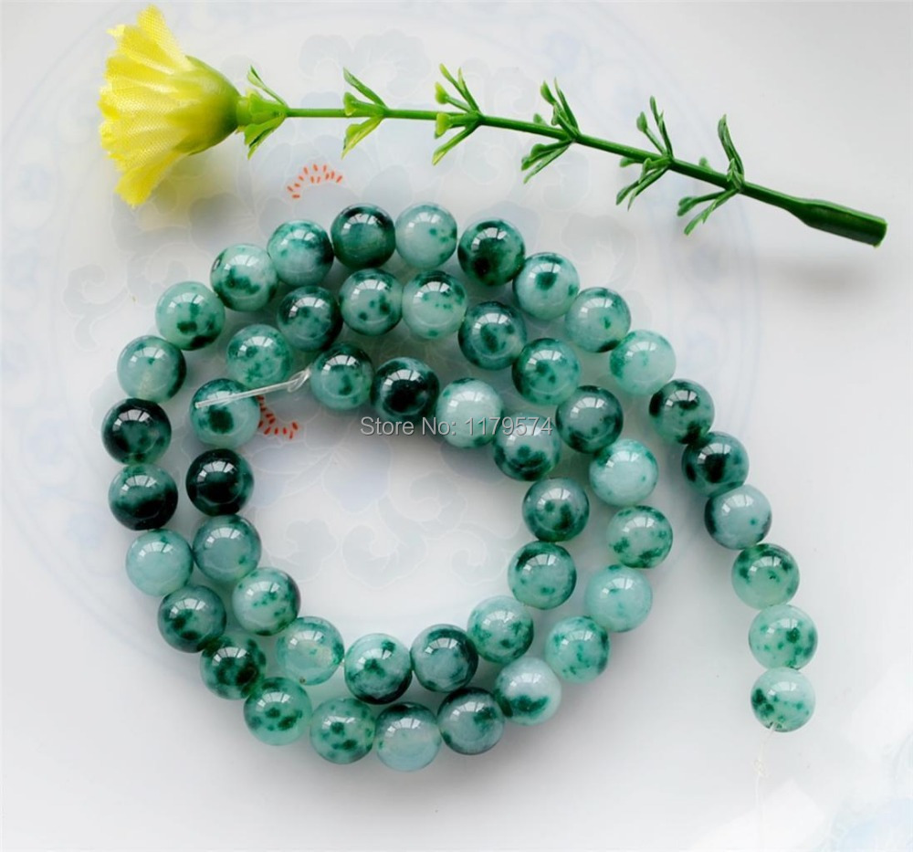 hot new fashion beautiful and noble all-match 6mm Green Mixed White Spots Sugilite Loose Beads Accessory Parts 15 jewelry sp067