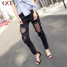 RZIV 2017 ladies denims informal stable colour denims lace stitching elastic gap denims