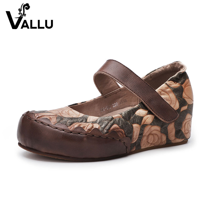 2018 VALLU Autumn New Arrival Genuine Leather Women Flats Round Toes Handmade Flower Ladies Mary Janes Shoes