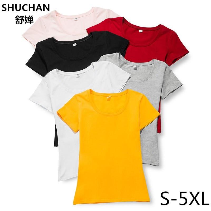 SHUCHAN T-shirt Female 2018 95% Cotton Plus Size Summer Women T Shirt Short Sleeve Casual Tops Tees Ladies Large Size 4xl 5xl