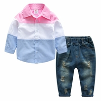 Boy Suit Shirt Jeans Pant 2 Pieces Kids Long Sleeve Shirt Ripped Jeans Spring Children S