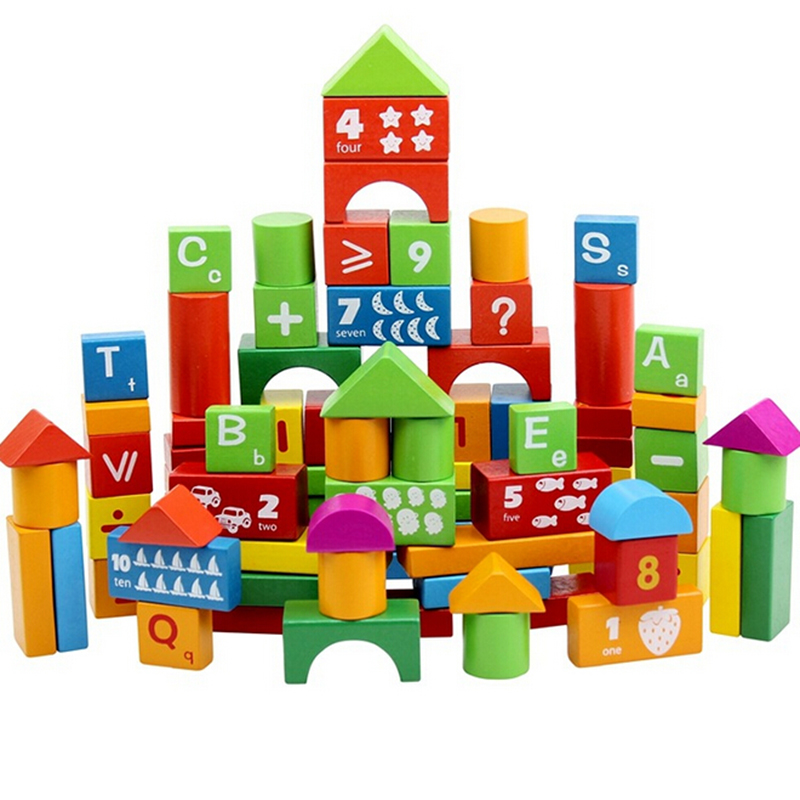 100pcs/Set Educational Children's Wooden Building Blocks, Kids Alphanumeric Toys Intellectual Development Models& Baby Hobbies baby toys wooden block 12 pcs models