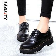 vintage fashion preppy style women's lacing up platform thick sole oxford flat shoes
