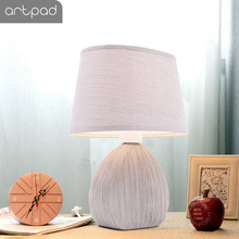 Nordic Decorative Bedside Table Lamp With Plug in and Switch Fabric Lampshade Ceramic Base Study Office Home Desk Light