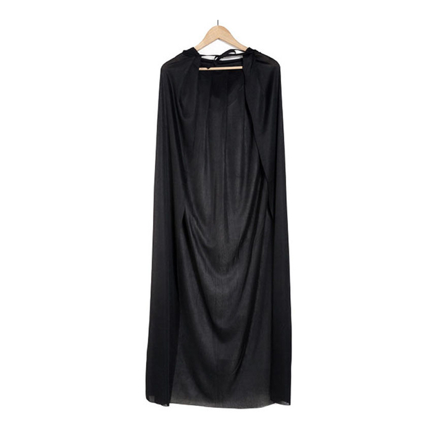 Fashion Hooded Cape Unisex Long Cloak Black Halloween Costume