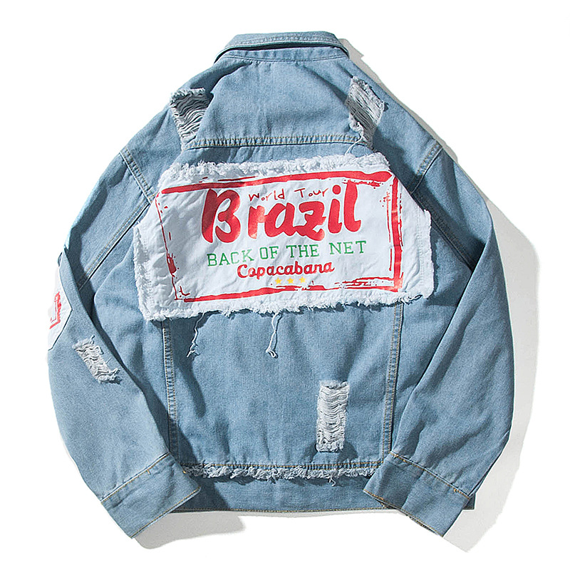 ZK Vintage Brazil Patchwork Ripped Hole Denim Jacket Men 2018 Hip Hop Casual Distressed Denim Jeans Jackets Male Coats