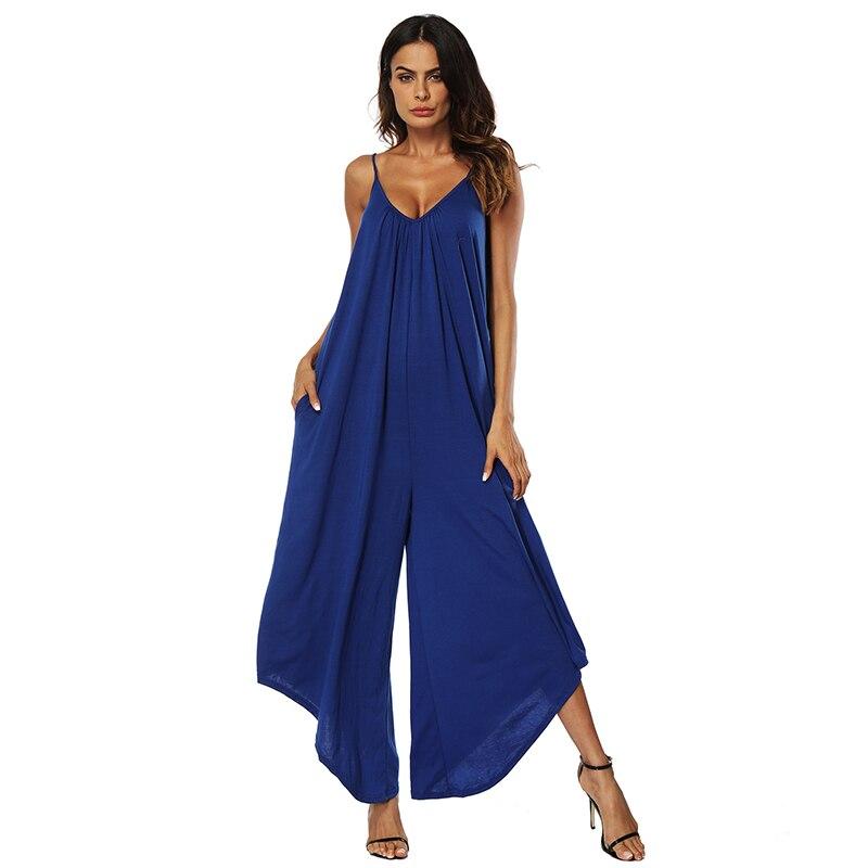 New Trendy Women Jumpsuits Hot Summer Sexy V-Neck Sleeveless Bare-Back Wide Leg Jumpsuit ...