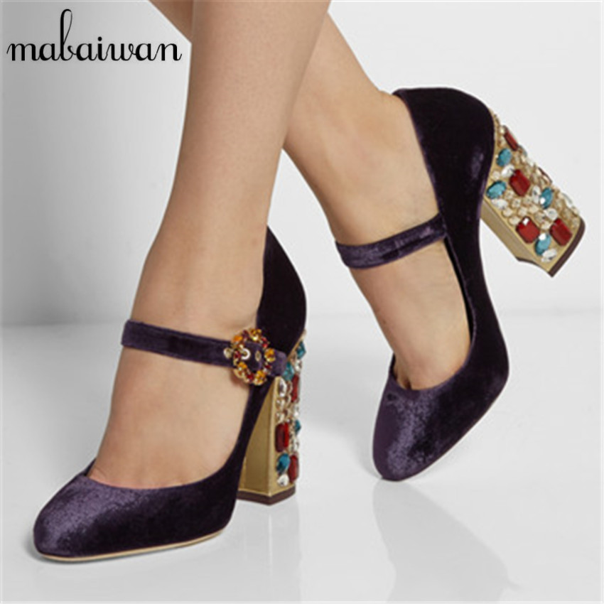 Vintage Fashion Velvet Women Pumps Pointed Toe Mary Janes Wedding Dress Shoes Woman Luxury Crystal Ankle Strap Chunky High Heels