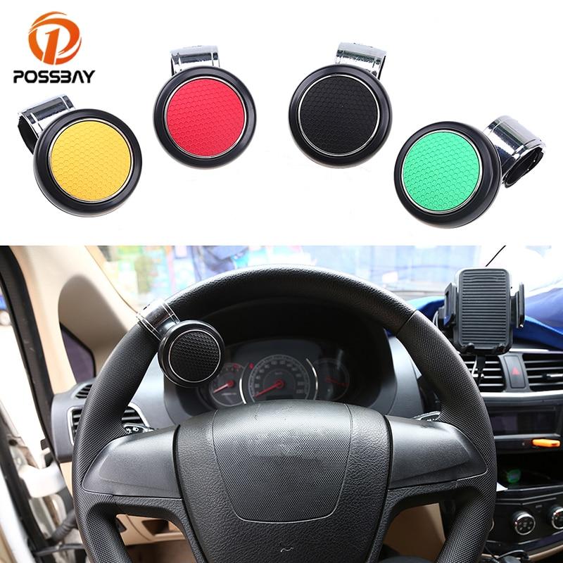 POSSBAY Car Steering Wheel Knob Ball Black/Red/Green/Yellow Hand Control Handle Grip Spinner Knob Grip Knob Turning Helper