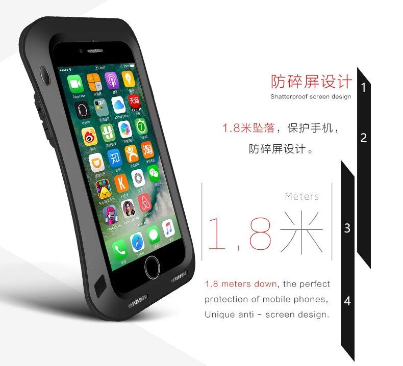 LOVE MEI Small Waist Armor Case For iPhone 7 8 7 Plus 8 Plus Metal Aluminum Cover For iPhone7 7Plus 8Plus Water/Shock/Rain Proof