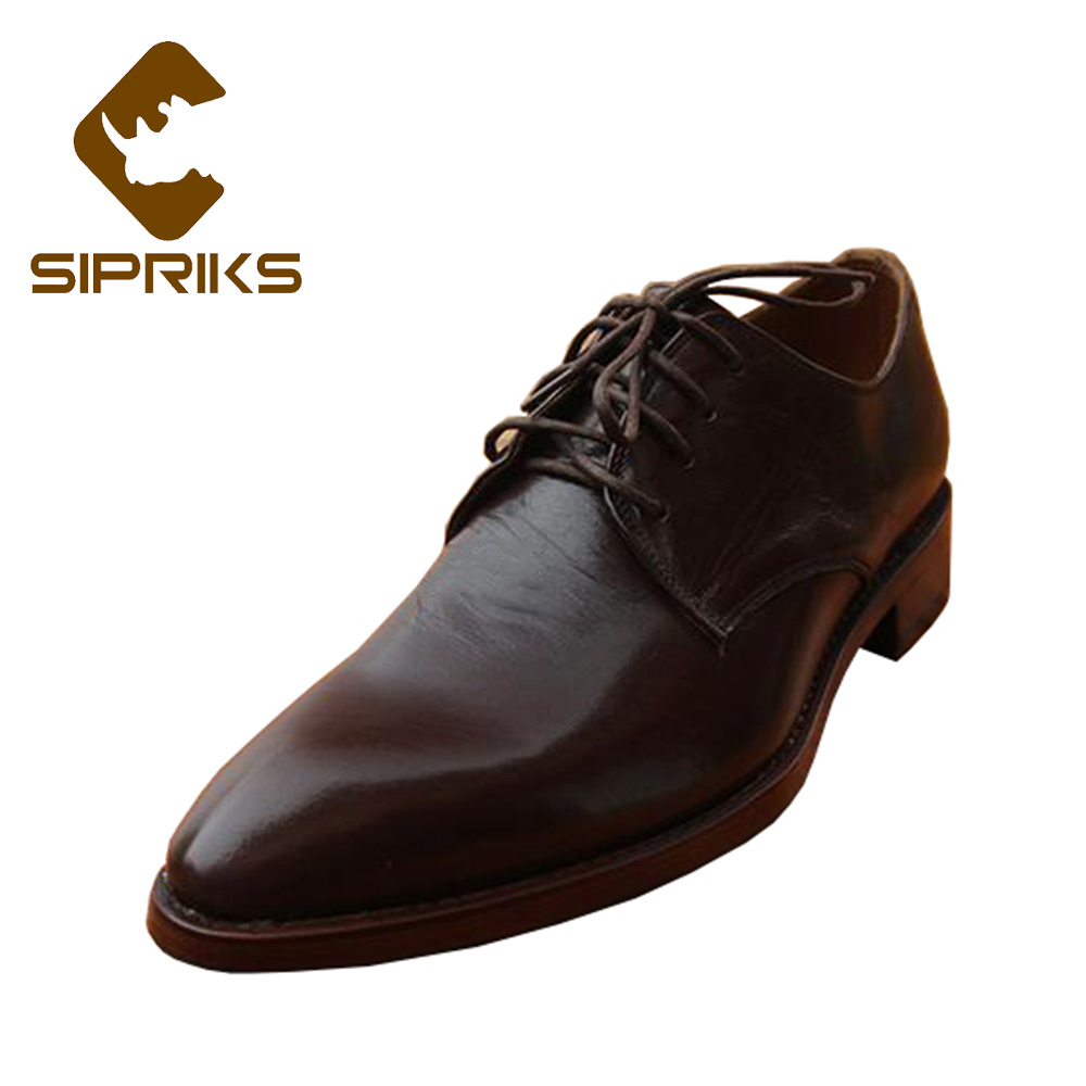 Sipriks Mens Dark Brown Derby Shoes Luxury Brand Mens Goodyear Welted Dress Shoes Pointed Toe Suits Men Shoes Formal Tuxedo Flat sipriks mens goodyear welted shoes italian hand made men s crocodile leather suits men shoes boss dress shoes blue tuxedo shoes