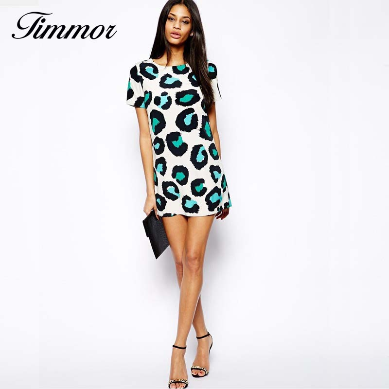3a0499ece0 Timmor 2016 Lato Nowych Moda Damska Sexy Leopard Sukienka O-neck Krótki  Rękaw Suknie Przyczynowe Slim Wieczorne Party Marka Designer