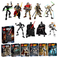 Star Wars Luke Skywalker Darth Vader General Grievous Yoda Obi Wan Starwars BB8 Figures Building Blocks